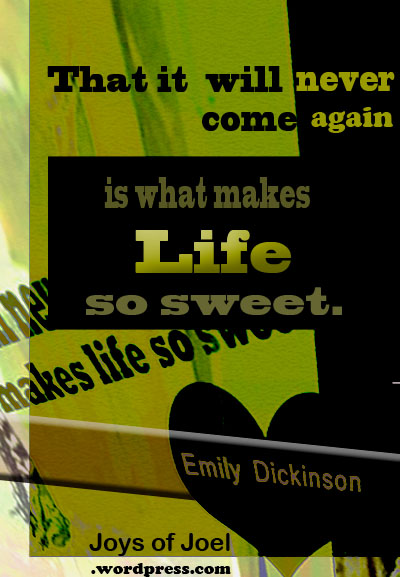 a quote by emily dickinson, joys of joel poems, why life so sweet